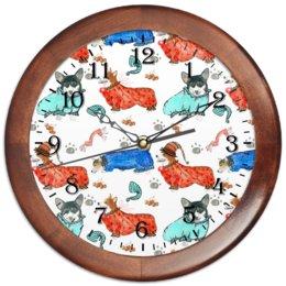 """Часы круглые из дерева """"Час сна """" - животные, корги, пемброк, вельшкорги"""