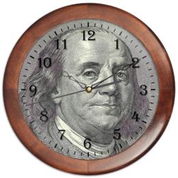 "Часы круглые из дерева ""Franklin"" - америка, usa, сша, america, доллар, доллары, франклин, franklin, dollars, dollar"