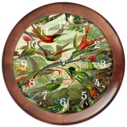 """Часы круглые из дерева """"Колибри (Trochilidae, Ernst Haeckel)"""" - 8 марта, птицы, картина, день матери, эрнст геккель"""