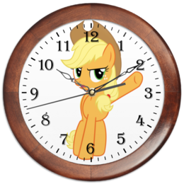 "Часы круглые из дерева ""Do not oversleep! Applejack"" - pony, mlp, applejack, эпплджек"