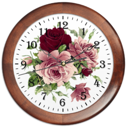 "Часы круглые из дерева ""Flowers"" - цветы, flowers, розы, roses"