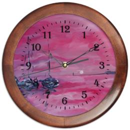 """Часы круглые из дерева """"розовый закат"""" - солнышко, интерьер, пляж, морское, лодки"""