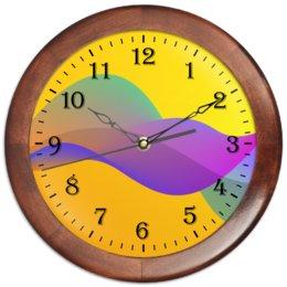 """Часы круглые из дерева """"Радужная абстракция."""" - радуга, абстракция, яркий, цветной, всплеск"""