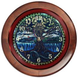 "Часы круглые из дерева ""Эмблема Мидгарда"" - один, тор, змей, асгард, мидгард"