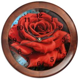 """Часы круглые из дерева """"Красная роза"""" - арт, цветы, роза"""
