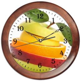 """Часы круглые из дерева """"Фруктовый бутерброд """" - фрукты, аппетит, фруктовый бутерброд"""