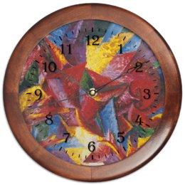 "Часы круглые из дерева ""Пластичные формы лошади (картина Умберто Боччони)"" - картина, живопись, футуризм, кубизм, боччони"