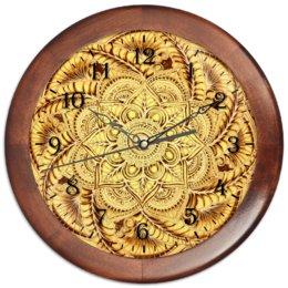 """Часы круглые из дерева """"Золотой циферблат"""" - узор, мандала, этнический, индийский, мехенди"""