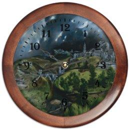 """Часы круглые из дерева """"Вид Толедо (картина Эль Греко)"""" - картина, пейзаж, живопись, возрождение, эль греко"""