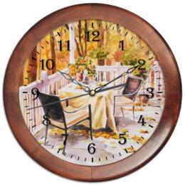 """Часы круглые из дерева """"Свидание с осенью"""" - осень, природа, обед, свидание, ужин"""