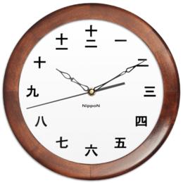 """Часы круглые из дерева """"Nippon wight"""" - япония, japan, японские"""