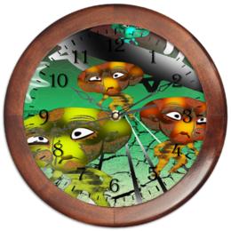 """Часы круглые из дерева """"Инопланитяне"""" - нло, марсиане, инопланитяне, лунатики, лета"""