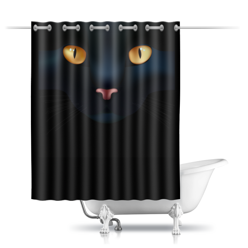 Шторы в ванную Printio Чёрная кошка