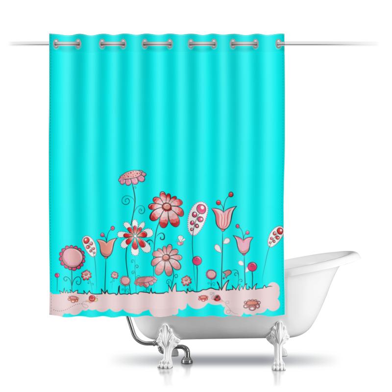 Шторы в ванную Printio Цветы шторы в ванную printio плывущие рыбы