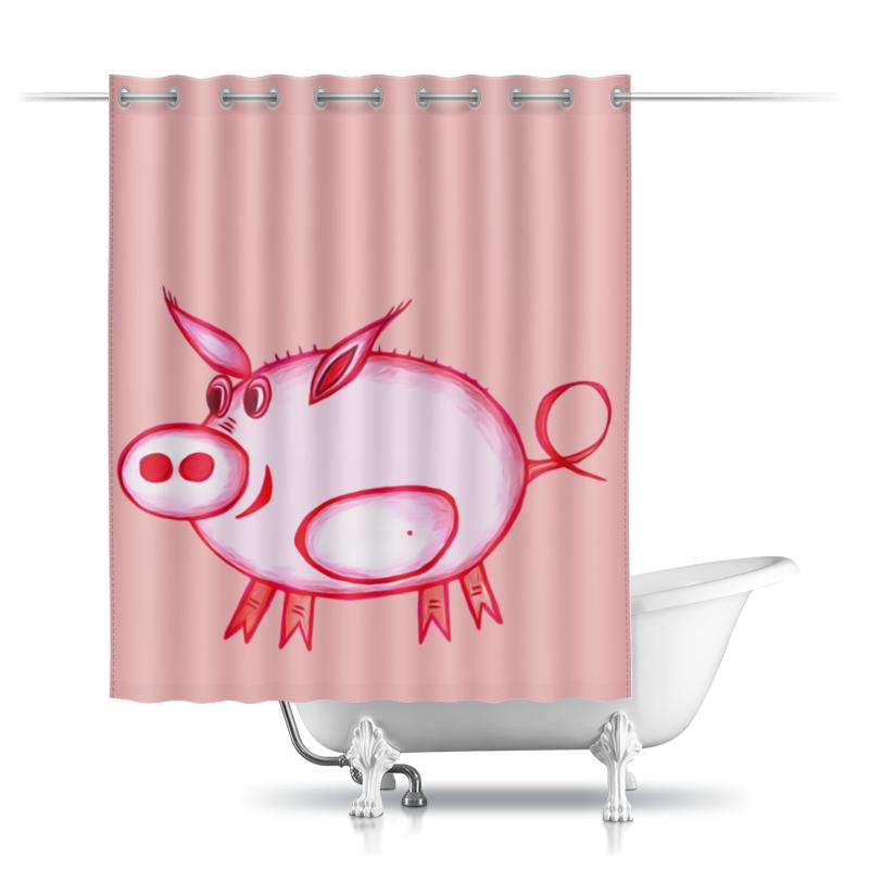 Шторы в ванную Printio Розовый поросенок