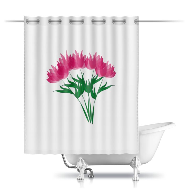 Шторы в ванную Printio Розовые абстрактные цветы невидимка для волос funny bunny розовые цветы 2 шт