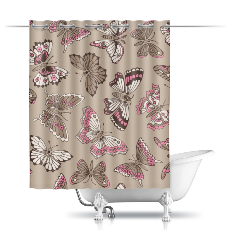Шторы в ванную Printio Бабочки