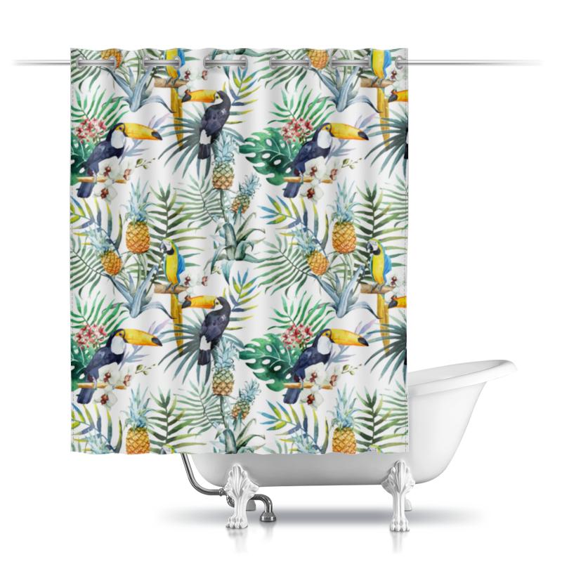 Шторы в ванную Printio Экзотический птицы
