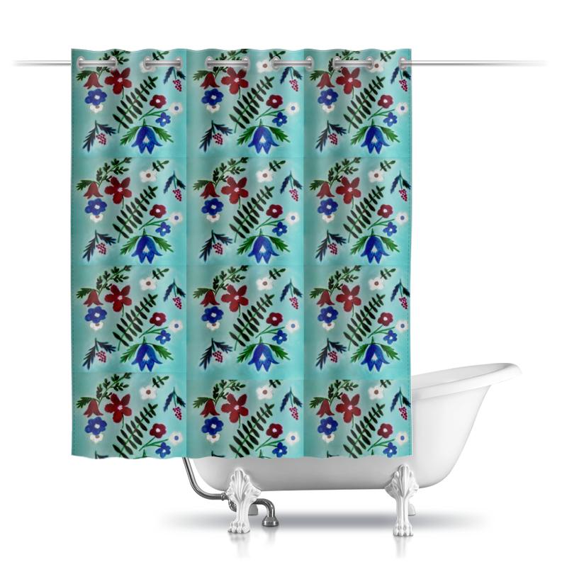 Шторы в ванную Printio Цветы на голубом
