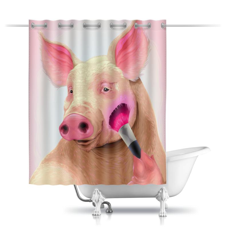 Шторы в ванную Printio Стильная свинья