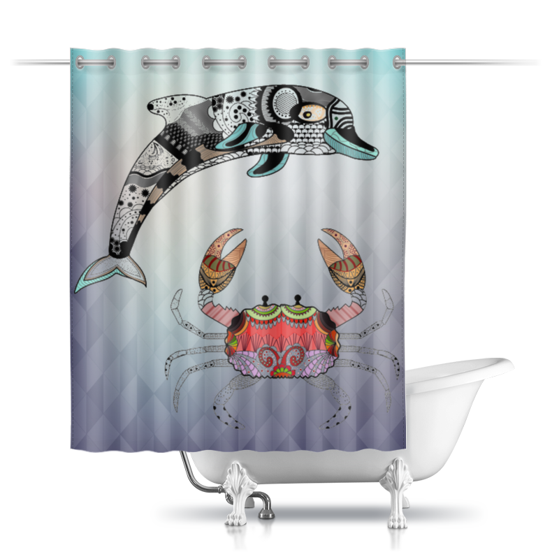Шторы в ванную Printio Дельфин