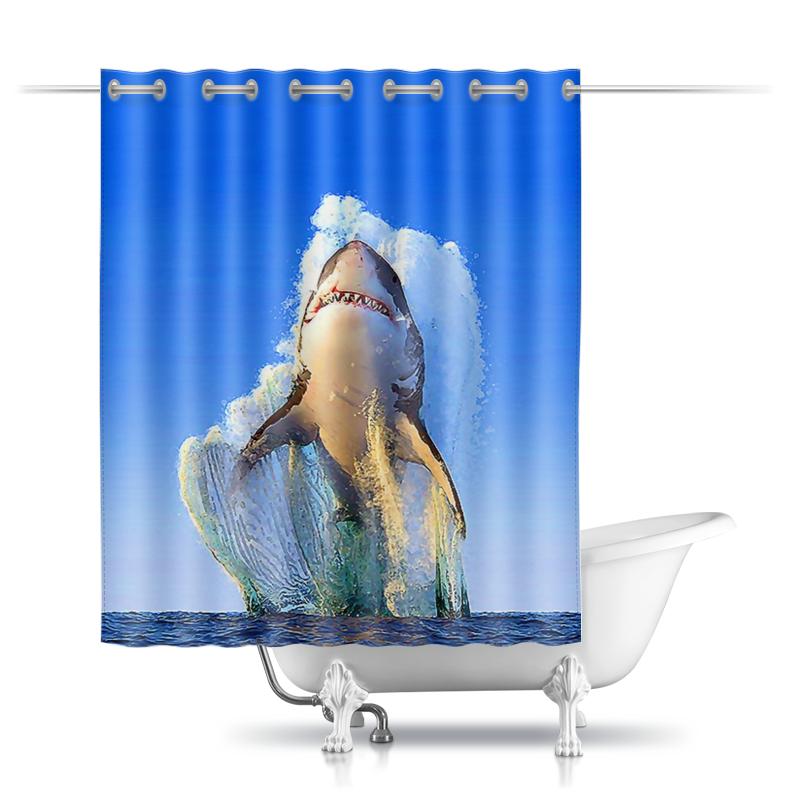 цена Шторы в ванную Printio Shark design