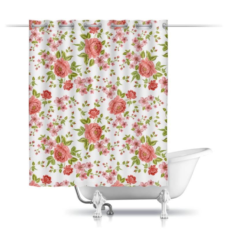 Шторы в ванную Printio Цветы