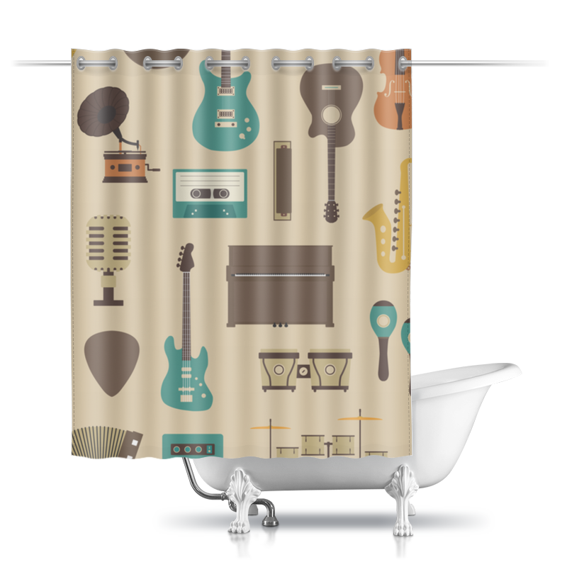 Фото - Шторы в ванную Printio Музыкальные инструменты инструменты