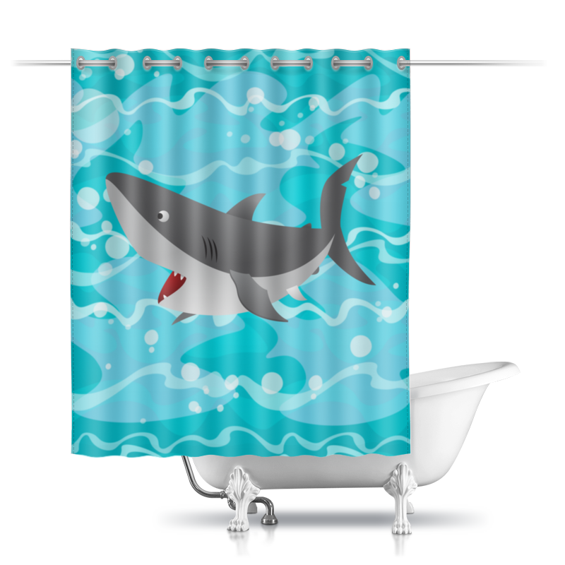 Шторы в ванную Printio Акула( baywatch)