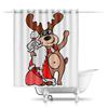 """Шторы в ванную """"Дед мороз с оленем"""" - праздник, новый год, радость, дед мороз, олень"""