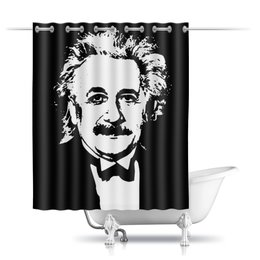 """Шторы в ванную """"Альберт Эйнштейн"""" - космос, наука, физика, эйнштейн"""