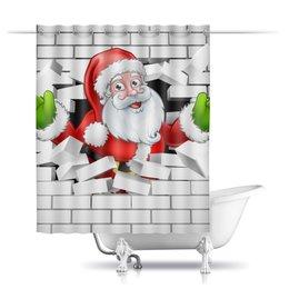 """Шторы в ванную """"Санта Клаус"""" - новый год, санта клаус, 2019"""