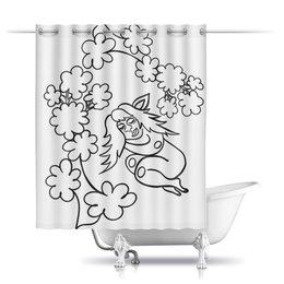 """Шторы в ванную """"Дремлющая троллита"""" - девушка, тролль, дерево, сладкий сон, нега"""
