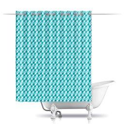 """Шторы в ванную """"Голубой орнамент для ванной"""" - узор, орнамент, этнический, пейсли"""