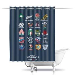 """Шторы в ванную """"Чемпионат Мира по регби"""" - спорт, регби, кубок мира по регби, япония"""
