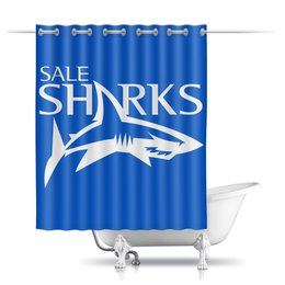 "Шторы в ванную ""Сейл Шаркс регби"" - спорт, регби, англия, акула"