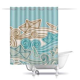 """Шторы в ванную """"Морская"""" - кораблик, море, волны, ракушка, морской"""