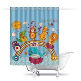 """Шторы в ванную """"Зверушки"""" - праздник, животные, сердца, звери"""