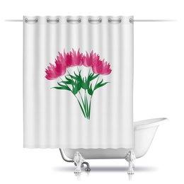 """Шторы в ванную """"розовые абстрактные цветы"""" - праздник, цветы, розовый, подарок, букет"""