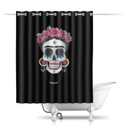 """Шторы в ванную """"Фрида"""" - череп, цветы, яркий, розы, фрида"""
