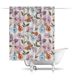 """Шторы в ванную """"Летние цветы"""" - бабочки, лето, цветы"""