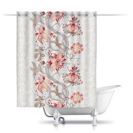 "Шторы в ванную ""Цветы"" - цветы"