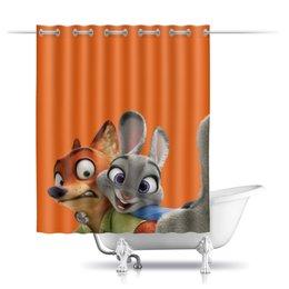 """Шторы в ванную """"Зверополис"""" - мультфильм, звери, персонажи, лис, заяц"""