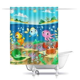"""Шторы в ванную """"Морская жизнь"""" - море, рыбки, водоросли, ракушка, морской конёк"""