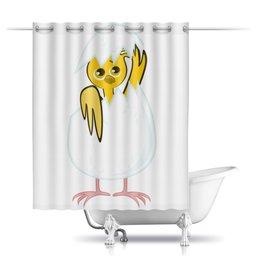 """Шторы в ванную """"желтый новорожденный цыпленок"""" - животные, птицы, день рождения, иллюстрация, новая жизнь"""