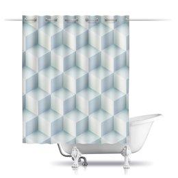 """Шторы в ванную """"Кубическая иллюзия"""" - стиль, абстракция, квадратный, иллюзия, кубизм"""