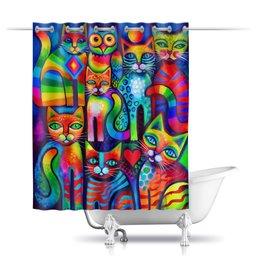 """Шторы в ванную """"Кошечки """" - арт, коты, киски"""