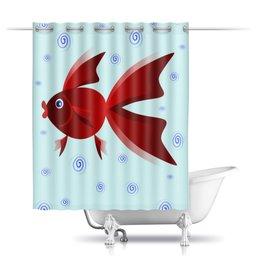 """Шторы в ванную """"Золотая аквариумная рыбка"""" - арт, золотая рыбка, аквариум, детская иллюстрация, под знаком рыб"""