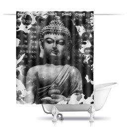 """Шторы в ванную """"Будда (Письмена)"""" - философия, религия, будда, буддизм, эзотерика"""