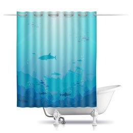 """Шторы в ванную """"Скрыто морем!"""" - море, рыбы, океан, акула, кораллы"""